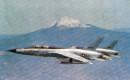 Two U.S. Air Force Republic F 105 Thunderchiefs with Mt. Fuji.