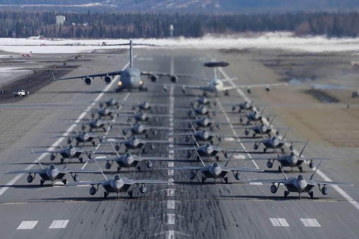 Two squadrons of F 22 Raptors