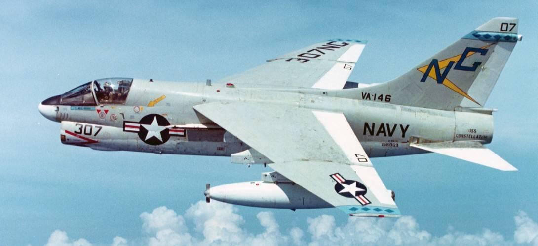 U.S. Navy LTV A 7E 5 CV Corsair II of Attack Squadron 146 VA 146 Blue Diamonds in flight