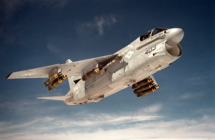 U.S. Navy LTV A 7E Corsair II of Attack Squadron 72 armed with Mk 82 Snakeeye and AIM 9L Sidewinder