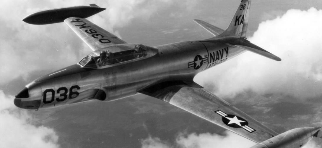 U.S. Navy Lockheed T 33B Shooting Star trainer of Advanced Training Unit ATU 200 in flight in 1953.