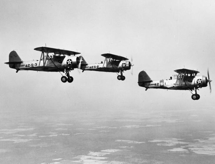 U.S. Navy Vought SBU 1 dive bombers of scouting squadron VS 42.