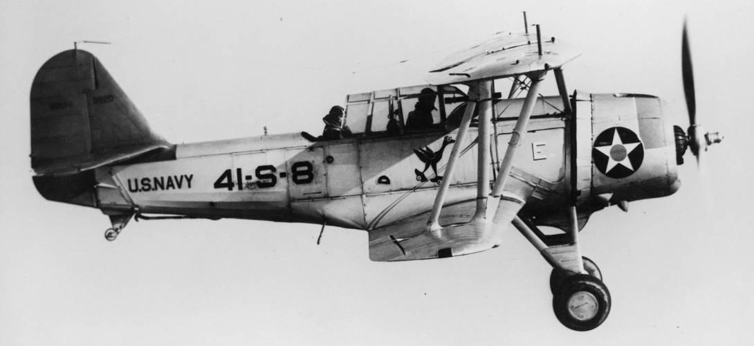 Vought SBU 1 of VS 41 in flight over the Atlantic Ocean. 1940