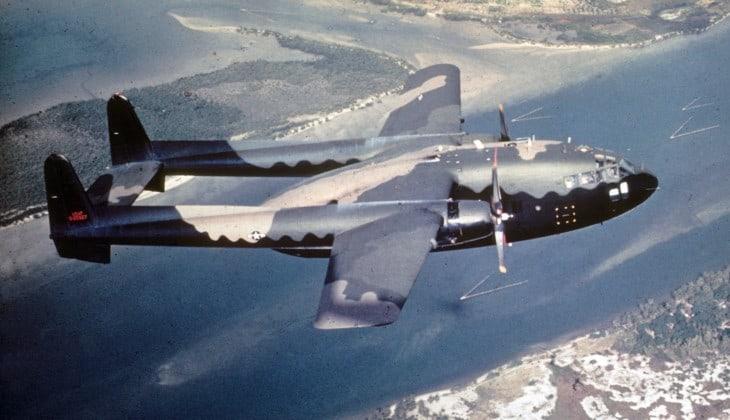 A U.S. Air Force Fairchild AC 119G Shadow in flight in 1968