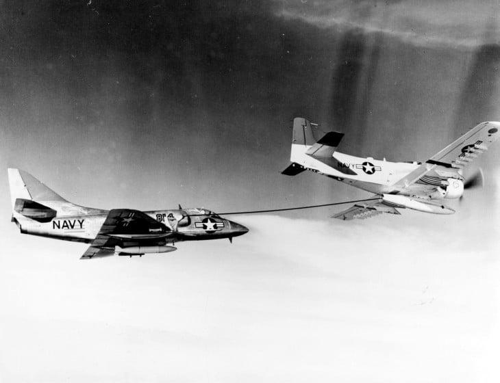 A U.S. Navy Douglas AD 6 Skyraider refueling the second production Douglas A4D 1 Skyhawk.