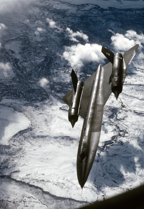 Air to air view from a tanker of a 9th Strategic Reconnaissance Wings SR 71 Blackbird