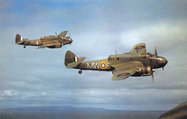 Bristol Beauforts 217 Squadron in flight