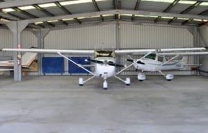 Cessna 172 in the foreground and Cessna 152 in the background