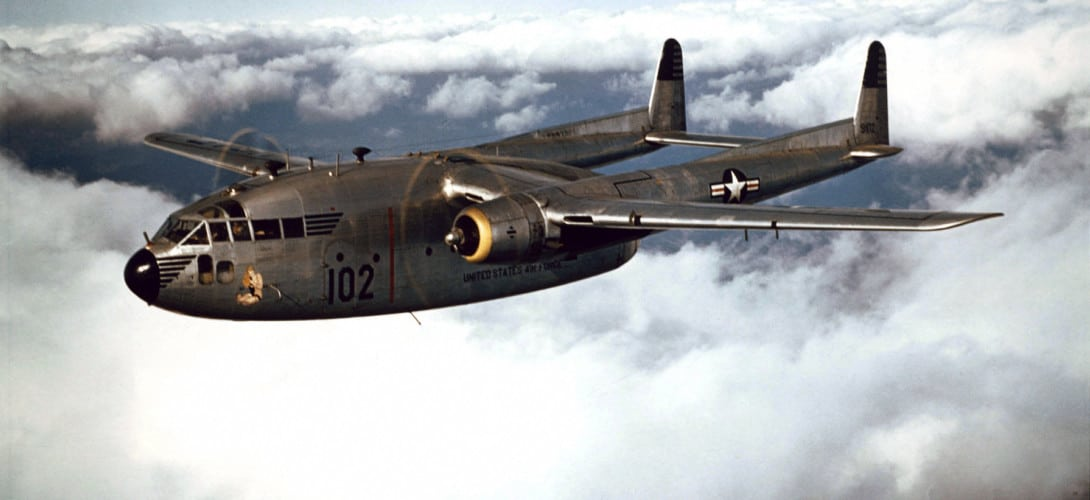 Fairchild C 119B of the 314th Troop Carrier Group in flight.