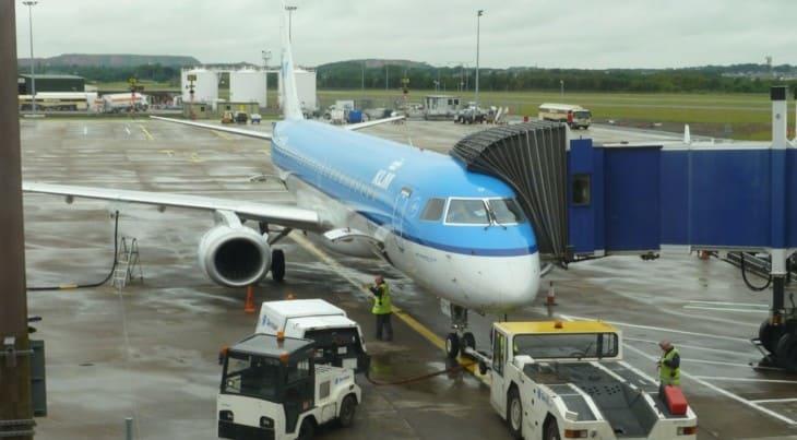 KLM airplane on jet bridge