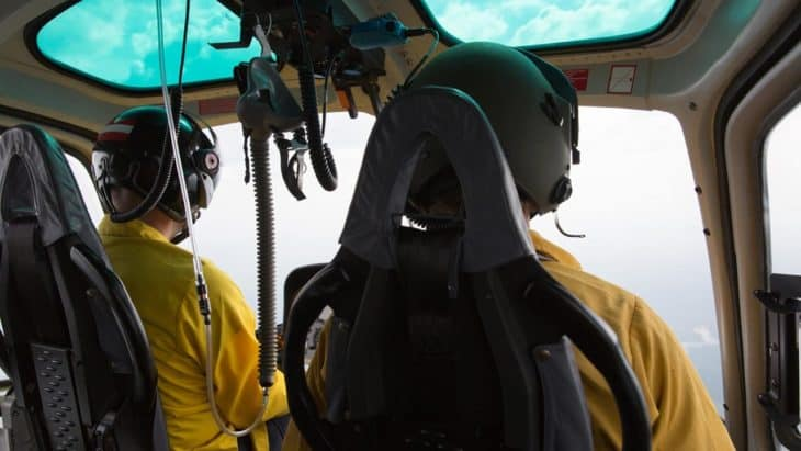 National Park Service Helicopter Pilots in the cockpit