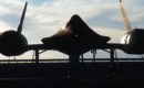 Silhouette at dusk of SR 71 Blackbird