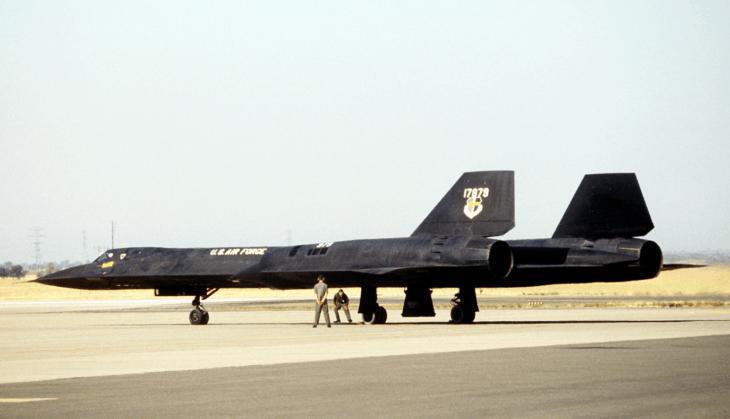 left rear view of a parked SR 71 Blackbird