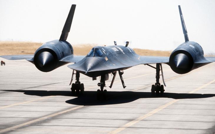 view of an SR 71 Blackbird aircraft taxiing along