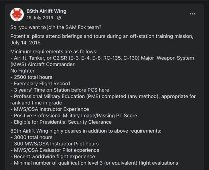89th airlift wing requirements