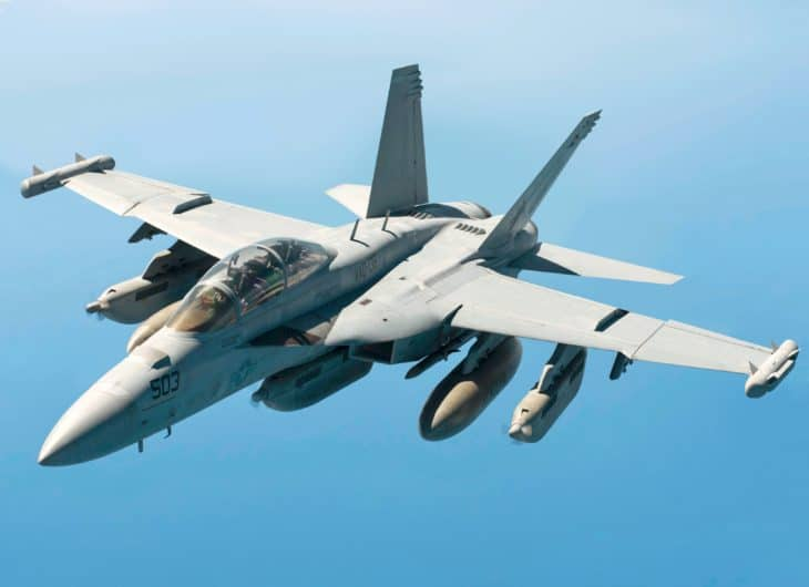 A U.S. Navy EA 18G Growler assigned to the USS Carl Vinson.