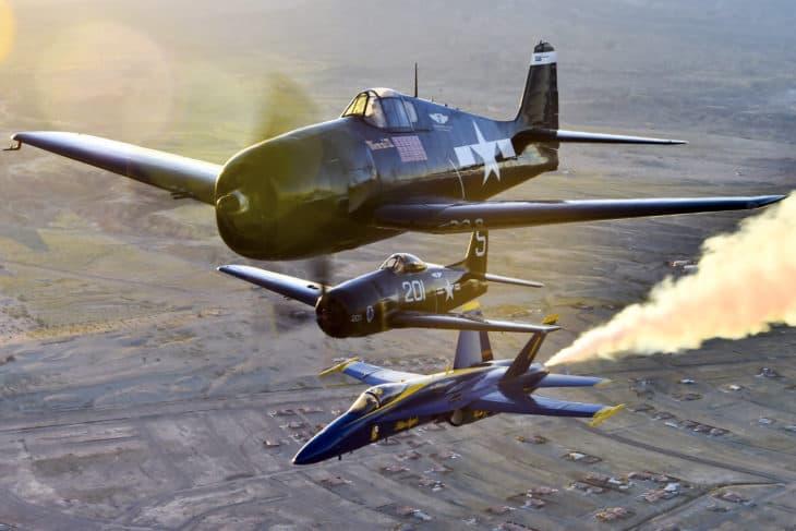 Blue Angels F6F Hellcat and F8F Bearcat Heritage flight