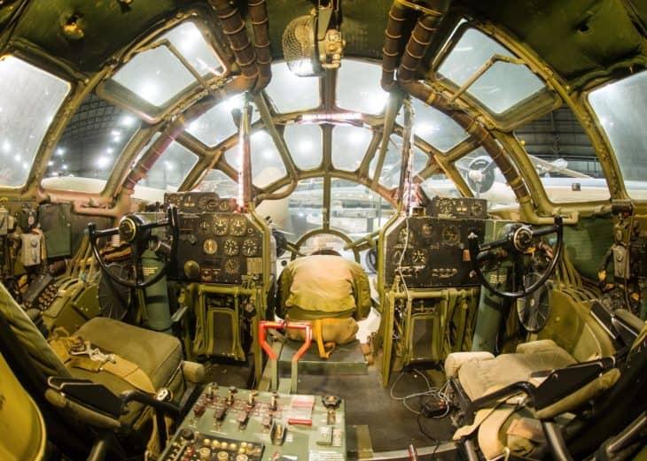 Boeing B 29 Superfortress Bockscar interior view of the cockpit.