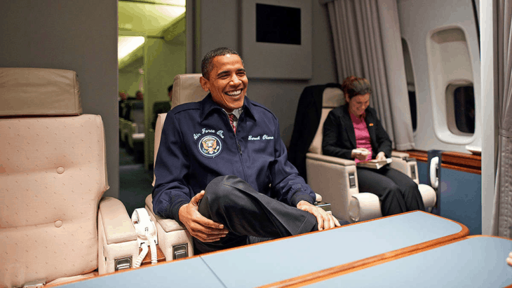 Obama in Air Force One with AFO jacket