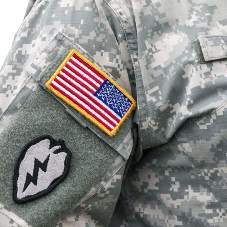 Reverse US flag patch on US Army uniform
