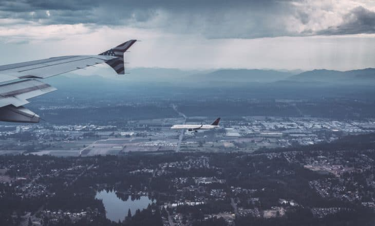 Two Airliners Passing at Altitude