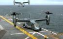 U.S. Marine Corps MV 22B Osprey assigned to Marine Tiltrotor Operational Test and Evaluation Squadron Two Two on USS Wasp.