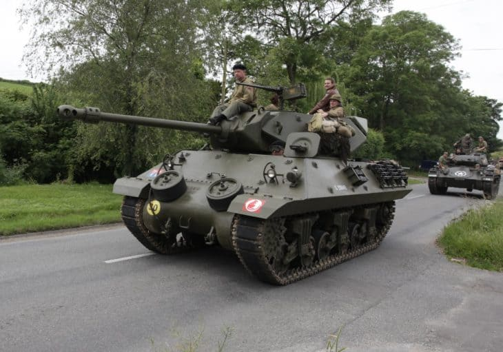 World War 2 Tank on road