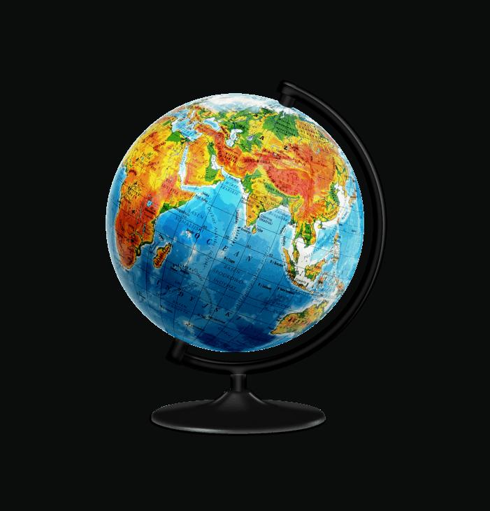 Desk globe with lines of latitude and longitude marked