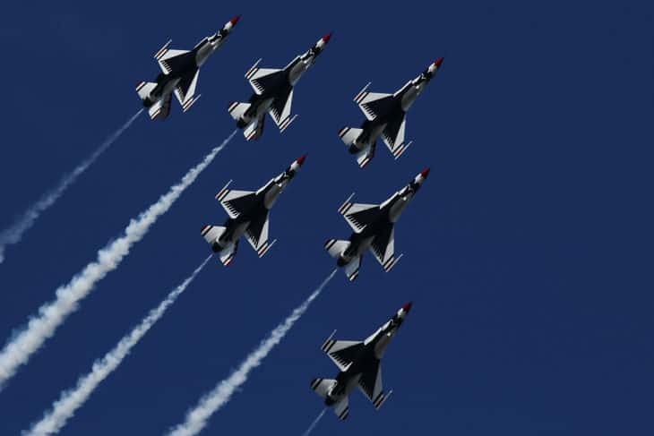 The Thunderbirds in there Delta formation