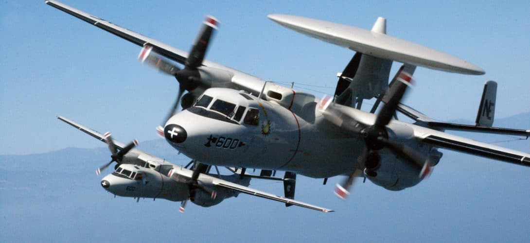 Two US Navy E 2C Hawkeyes.
