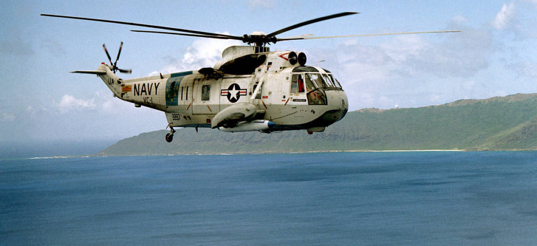 A U.S. Navy Sikorsky SH 3A Sea King helicopter of fleet composite squadron VC 1.