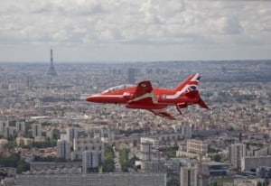 A Red Arrows Hawk in the skies above Paris to mark the 80th anniversary of a speech by Charles de Gaulle