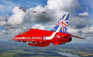Red 6 of the world famous air display team the Red Arrows is pictured during a transit flight from Denmark back to the UK