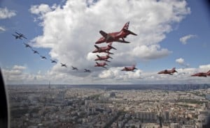 Red Arrows and the French Patrouille De France in the skies above Paris