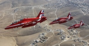 Red Arrows flying over southern Jordan