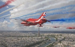 The Red Arrows and the French Patrouille De France in the skies above Paris