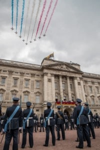 The Red Arrows complete the RAF100 Flypast over Buckingham Palace