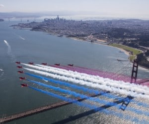 The Red Arrows fly over the Golden Gate Bridge San Francisco