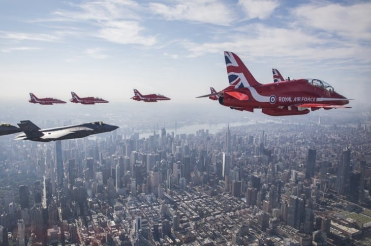 The Red Arrows flying above New York City