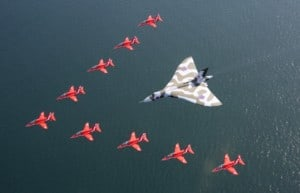The Red Arrows have flown with the Vulcan bomber for the final time in a show of great British aviation icons