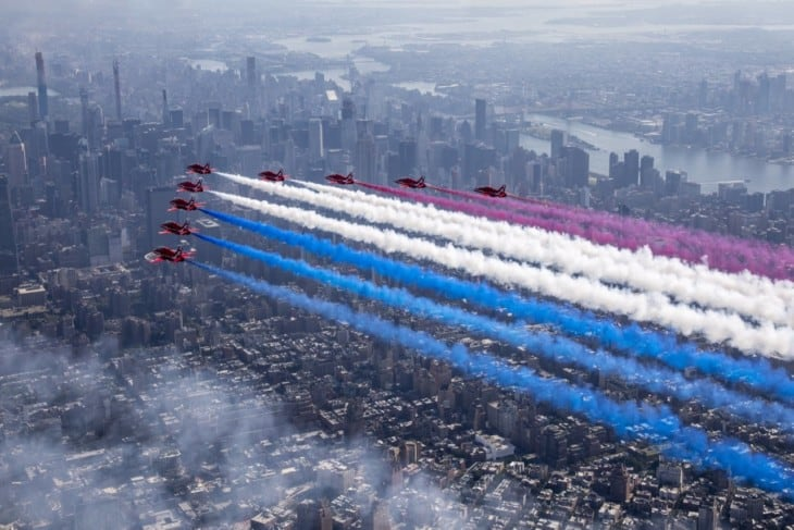 The Royal Air Force Aerobatic Team The Red Arrows fly over New York