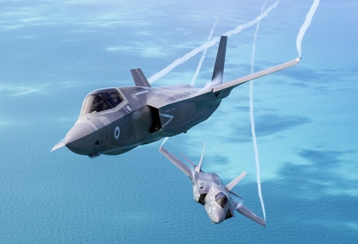 A pair of F 35Bs Lightning II jets of the Royal Air Force and USMC.