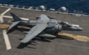 An AV 8B Harrier assigned to Marine Medium Tiltrotor Squadron 163 launches from USS Makin Island.