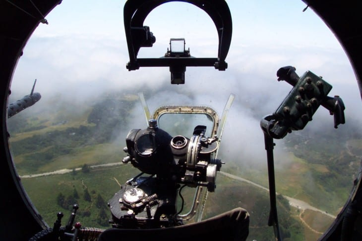 Bombardiers view in B 17G Flying Fortress with Norden Bombsight