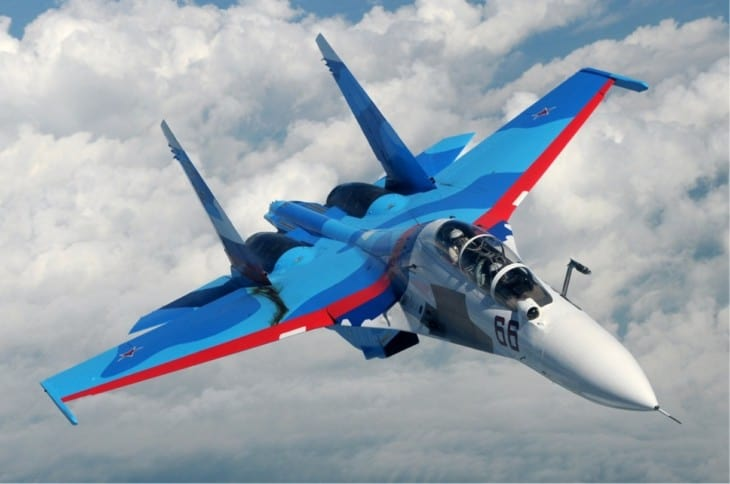 Sukhoi Su 30 of the Russian Air Force inflight.