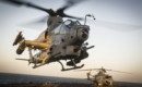 A Bell AH 1Z Viper attack helicopter takes off