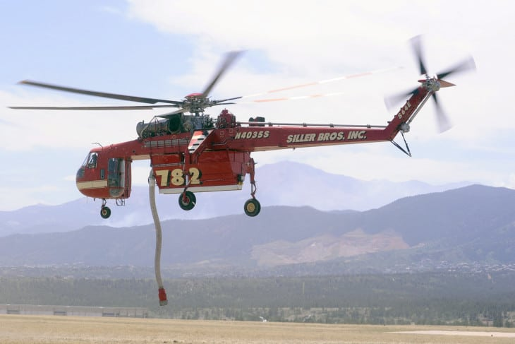 A Siller Brothers firefighting helicopter Sikorsky S 64B.