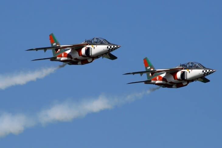 A pair of Dassault Dornier Alpha Jet A in formation flight.