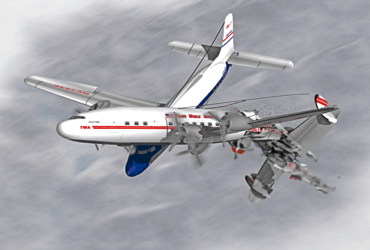 Artists impression of the 1956 Grand Canyon mid air collision.