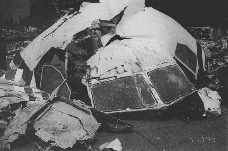 China Airlines Flight 140 wreckage.